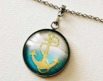 Anchor necklace, 304 stainless steel, maritime cabochon necklace