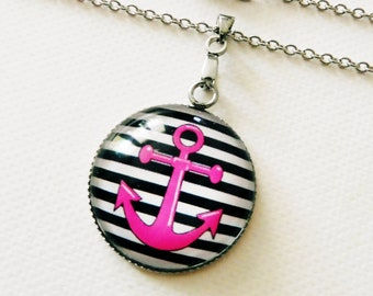 Anchor necklace, 304 stainless steel, maritime cabochon necklace, rockabilly jewelry