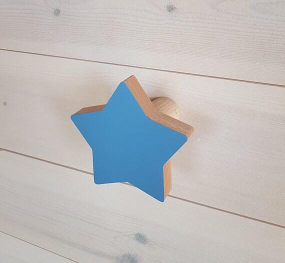 Poudre bleu étoile crochet en bois chambre d'enfant crochet / crochet/Rack/cintres/hêtre en bois bois/Home Decor/bébé de chambre enfants cintre/enfants Wall Decor