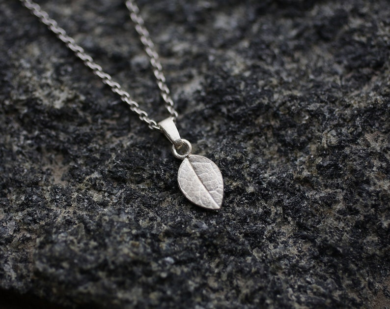 Silver plant pendant Dainty floral texture pendant Boho botanical pendant Small leaf necklace