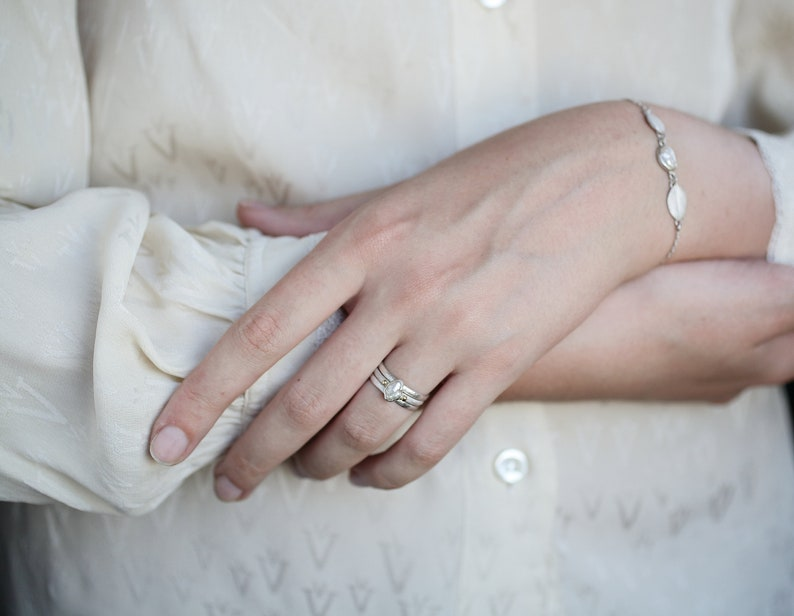 Silver pearl ring with gold decoration Freshwater pearl ring Wabi sabi ring Irregular pearl Baroque pearl ring