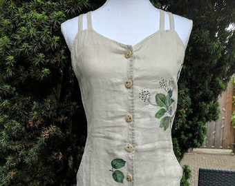 Hand painted linen dress string shoulder