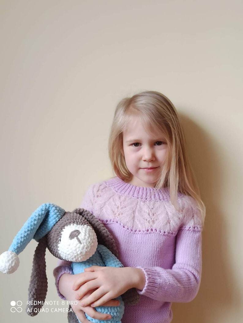knitted girl/'s pullover spring sweater Handmade knitted toddler girl pink sweater with lace yoke
