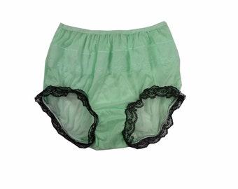 9497b1f4df3 Handmade Front   Leg Lace Trimmed Sissy Panty Nylon Mushroom Double Gusset  Full Cut Briefs Panties Vintage Adult Lingerie Fair Green