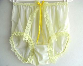 e64c98685694 Yellow Sheer Nylon Granny Panties Briefs Panty Yellow Lace Leg Trimmed Bow  Ribbon Lacy Underwear Nylon Knickers For Men & Women Lingerie