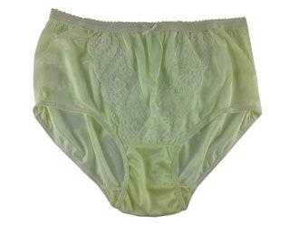 72784b0f75a Fair Yellow Vintage Style Granny Full Briefs Panties Women Sheer Nylon  Knickers Edge Wavy Undies Lace Front Underwear