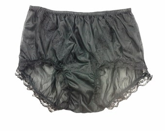cdb968aa426 Vintage Style Black Granny Full Briefs Panties Women Sheer Nylon Knickers  Lace Front Undies Underwear