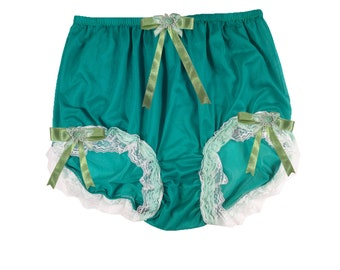 7f2f25137a05 GREEN Vintage Sheer Nylon Granny Panties Briefs High Waist Panty Lace  Overlap Legs Trim Men Women Lingerie Custom Underwear XL 2XL 3XL