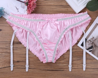 bdc92d66a618 B008 Erotic Sexy Mens Satin Ruffled Sissy Panties Shiny Full Cut Lined Tanga  Briefs Sissy Men Underwear Baby Doll Knickers Pink For Adult