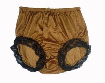 06ce80cafc2eba Gold Briefs Panties Underwear Vintage Style Women Silky Nylon Knickers  Handmade Ribbon Lace Trimmed Legs Undies Size XL/2XL/3XL