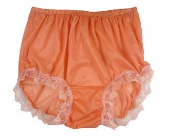 f4d757c952c Vintage Briefs Panties Nylon Large Double Mushroom Gusset Adult Sissy  Orange Knickers Mens Panty Women Undies Granny Lingerie Gifts Party