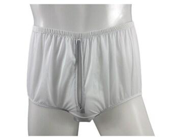 03087a2d638d Split Panty Briefs Panties Nylon Gusset Zip Men Underwear Zipper Knicker  Sexy Women Undies White