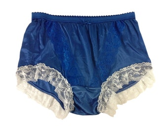 Lingerie Handmade Panty Silky Sheer Nylon Panties Briefs Knickers Vintage  Style Lacy Trimmed Lace Royal Blue Underwear ab1290ab5