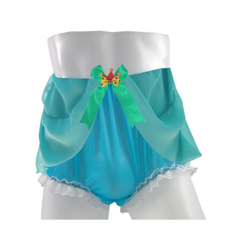 Selected 17 color NH28D12 Princess Jasmine New Handmade Lingerie Pinup Nylon Panties Briefs Women Men Lacy Underwear Knickers Light Blue
