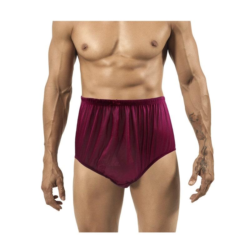 da4e0bfb214 Wine Red Vintage Style Granny Full Briefs Panties Women Shiny