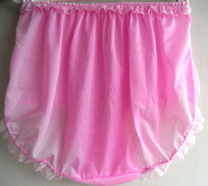 Sissy Choose 17 color New Fair Pink Granny Full Briefs Panties Women Men Handmade Nylon Knickers Lingerie Lace Legs Lacy Waist Trimmed