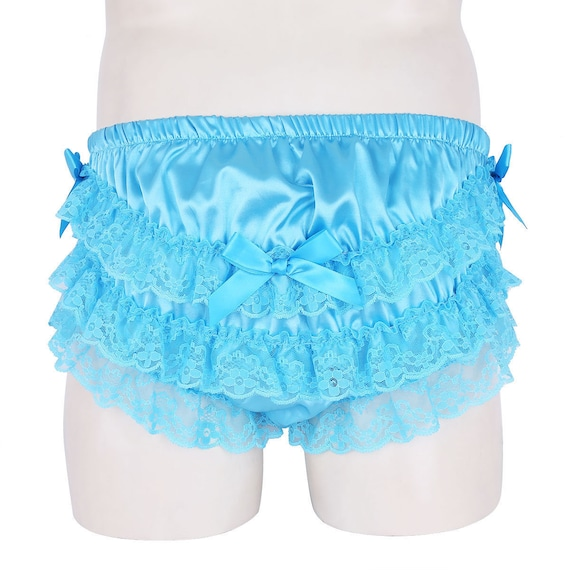 White Nylon Blue Lace Frilly Tricot SISSY panties size XL