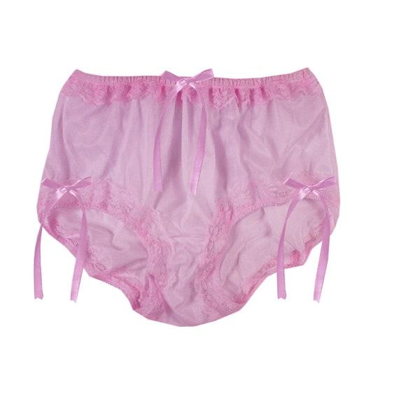 Liliac raso Sissy Frilly Mutandine Bikini Knicker biancheria intima slip taglia 10-20