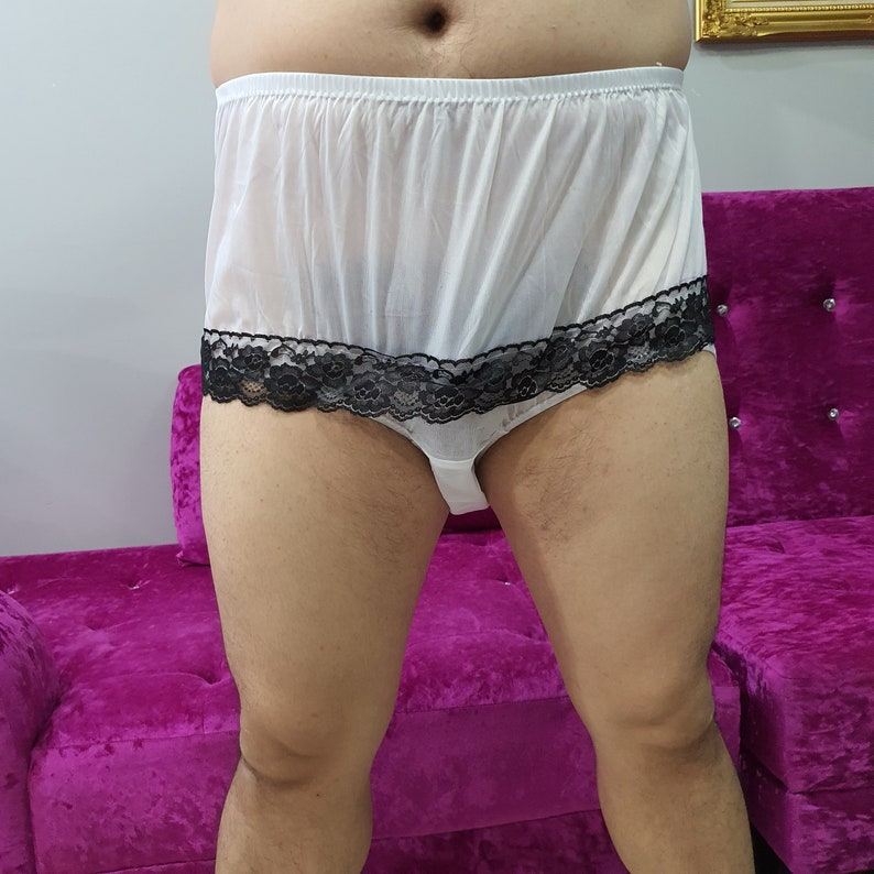choose 17 color New Lingerie Handmade Nylon Panties Briefs Women Men Male Ladies Lace Around bottom Granny Underwear Knickers White
