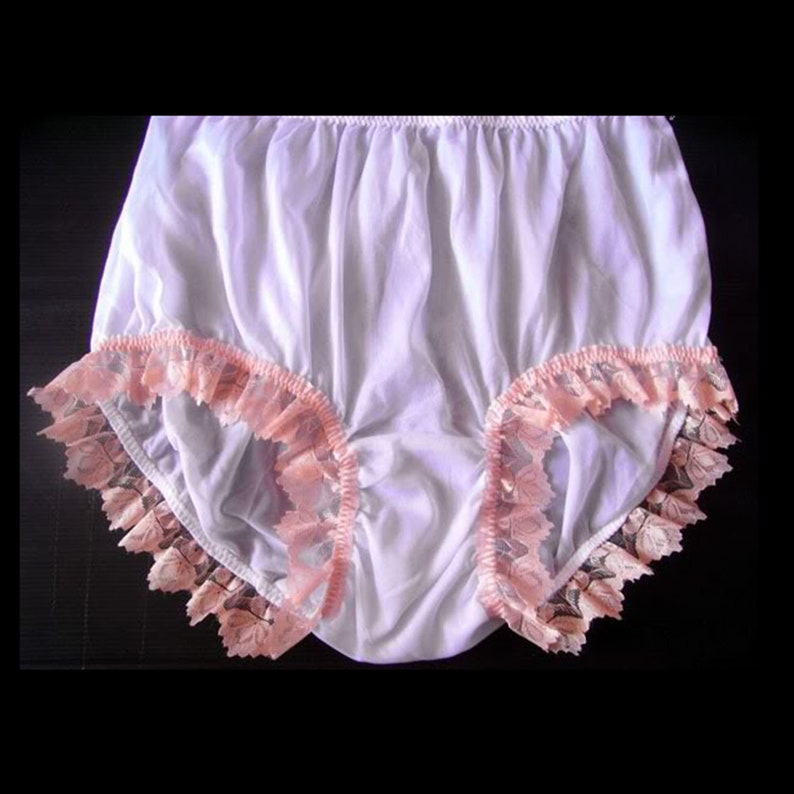 17 color Handmade White Vintage Granny Full Briefs Panties Women Sheer Nylon Knickers Undies Lingerie Orange Lacy Legs Lace Trimmed Panty