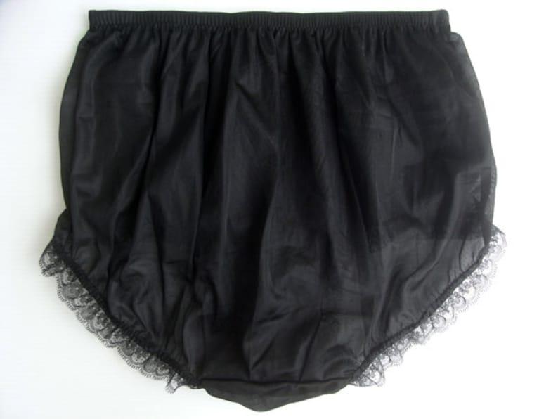 selected 17 color Sissy Gorgeous Handmade Vintage Style Silk Nylon Panties Briefs Black Lace Trimmed Underwear Undies Black
