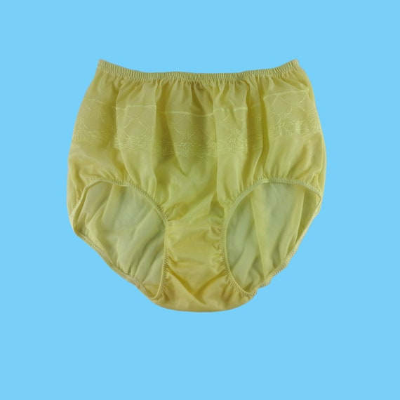 first look where to buy amazing selection Fair Yellow Vintage Style Granny Full Briefs Panties Women Sheer Nylon  Knickers Undies Lace Front Underwear