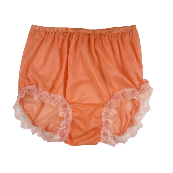 Handmade Vintage Style Nylon Tricot Orange Full Brief Panties In Different Sizes