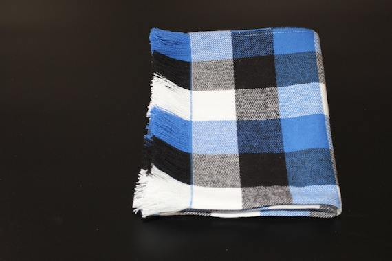 0ca47720316 Plaiditudes Brushed Cotton Buffalo Check Fringed Scarf, Blue Black White  buffalo check fringed scarf, his or her scarf, Winter Clearance