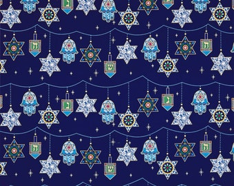 Holiday of Lights Cotton Fabric by the yard, fabric, cotton, masks, crafts, material, toddler, peace, love, nursery, infant, Jewish religion