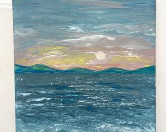 Original acrylic seascape sunset painting on canvas
