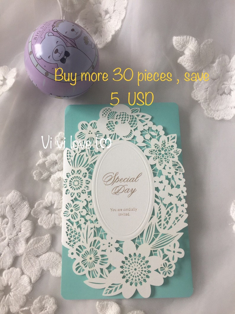 Tiffany Blue Lace Paper Wedding Invitation Card Customized Min Order Qty 30 Pieces