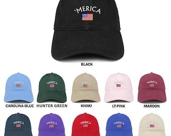 00cf9dd4fec8b Stitchfy Merica Small American Flag Embroidered Dad Hat Cotton Baseball Cap  (SF-LOG151-SAN-CP77)