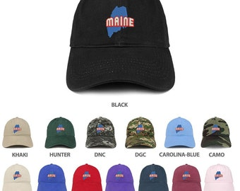sports shoes 62304 73893 Stitchfy Maine Map Embroidered 100% Cotton Adjustable Cap Dad Hat