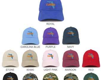 2c8d05426c82f Stitchfy Florida State Map Embroidered Unstructured Cotton Dad Hat