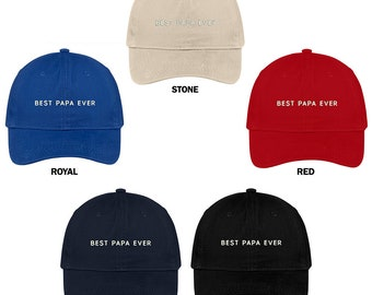 c036b8de0b3 Stitchfy Best Papa Ever One Line Embroidered Soft Cotton Low Profile Dad Hat  Baseball Cap