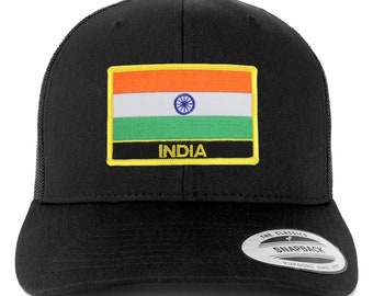 7b0cb6eb807 Stitchfy India Flag Patch Retro Trucker Mesh Cap