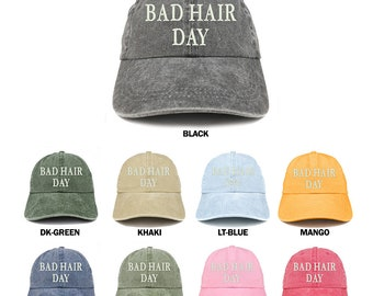 Stitchfy Bad Hair Day Embroidered 100% Cotton Baseball Cap 7141639a9d5