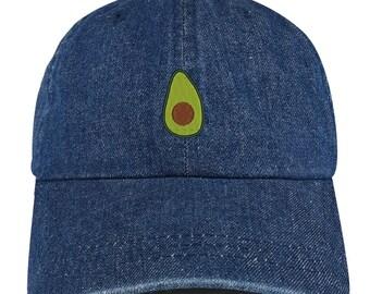 Stitchfy Avocado Embroidered 100% Cotton Denim Cap Dad Hat 8f2f4b2d789c