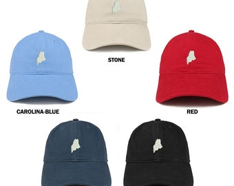 b2311843f Stitchfy Maine State Map Embroidered Low Profile Soft Cotton Brushed  Baseball Cap