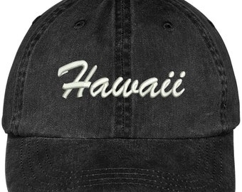 10acbbdb00f9cf Stitchfy Hawaii State Embroidered Low Profile Adjustable Cotton Cap