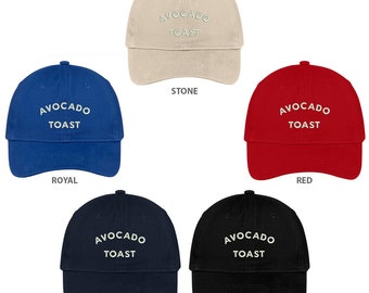 d07bb915b8686 Stitchfy Avocado Toast Embroidered Low Profile Brushed Cotton Cap Dad Hat