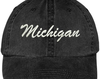 77fa6a9fa7e Stitchfy Michigan State Embroidered Low Profile Adjustable Cotton Cap