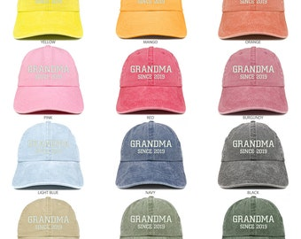 f2cc22973744d Stitchfy Grandma Since 2019 Embroidered Washed Pigment Dyed Cap