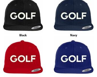 Stitchfy Golf Embroidered Flat Bill Snapback Baseball Cap bdb3ca51d172