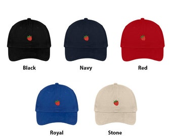 Stitchfy Strawberry Embroidered Brushed 100% Cotton Baseball Cap Dad Hat 977fda378a3d