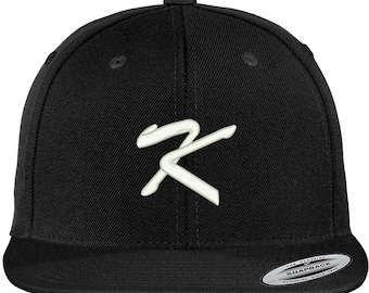 0862123a2b3 Stitchfy Letter K Brushed Script Embroidered Flat Bill Snapback Baseball Cap