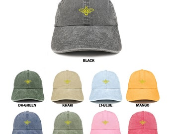 Stitchfy Bee Embroidered Unstructured Low Profile Washed Pigment Dyed  Baseball Cap (SF-LOG126-MGC-7601) 929fe78a1fa1