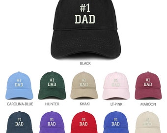 e3cfe5bf6a6ee Stitchfy Number 1 Dad Embroidered Brushed Cotton Dad Hat Cap