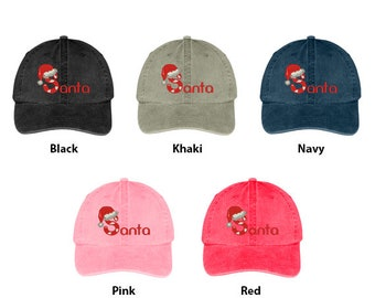 81cd275b66df3 Stitchfy Santa Hat Embroidered Cotton Washed Baseball Cap