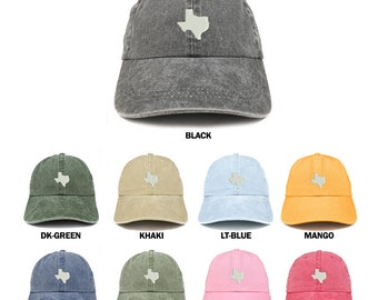 new arrival 40432 f9c78 Stitchfy Texas State Map Embroidered Washed Cotton Adjustable Cap
